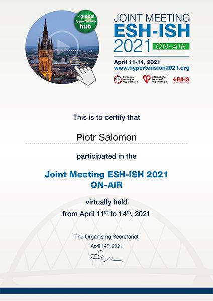 Attestato di Partecipazione ESH-ISH 2021